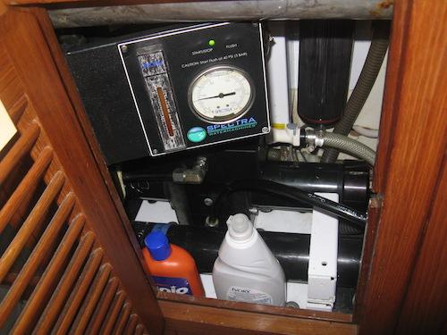 Spectra Watermaker under galley sink.