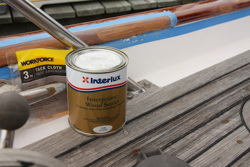 Interlux Teak Sealer and Tacky Cloth are the next steps.