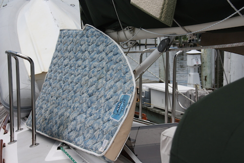 Oops.  The quarterberth mattress drying in the hot sun - luckily low humidity that day!