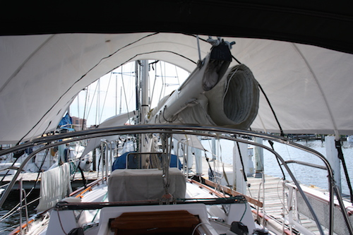 Another few days and we'll be ready to leave - the canvas is off, the Shadetree awnings are up, we still need to remove the rolled mainsail and store it below