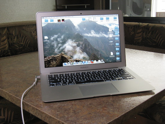 MacBook Air powered by my 12V power cord in the travel trailer.