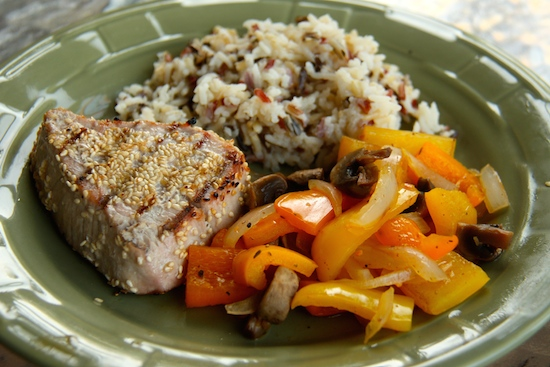 My favorite meal ... grilled sesame tuna, grilled veggies and rice blend from Trader Joes!