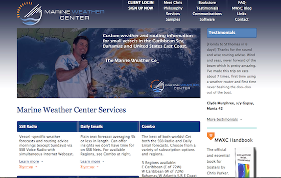 Chris Parker's Marine Weather Center online.