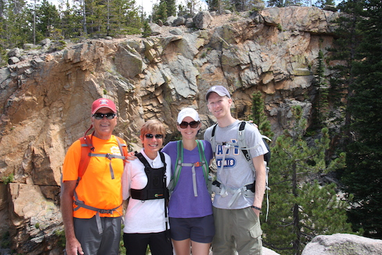 David, me, Laura and Billy high above Alberta Falls, Rocky Mountain National Park.