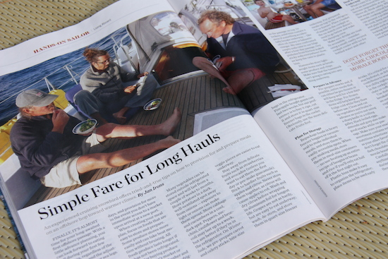 Simple Fare for Long Hauls ... by Jan Irons, page 78 Sept 2014 Cruising World Magazine.
