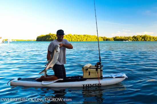 Peter from s/v Mary Christine aka www.wherethecoconutsgrow.com shows off his fishing prowess on his SUP.