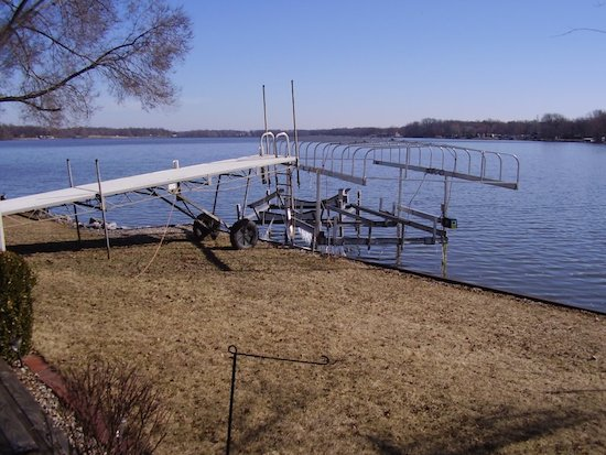 Last winter was brutal for ice damage on the lake.  With our docks out of the water and the lifts surrounded by the bubbler, we were lucky and just had the lifts moved by the ice, not totally destructed as experienced by many neighbors.