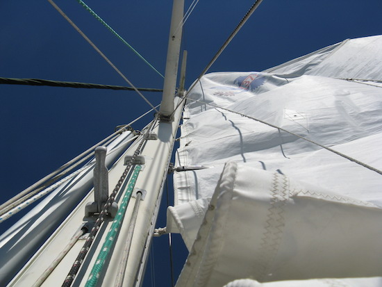 The Mack Sails full battened mainsail goes up...