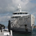 Grace E, the mega-yacht along the fuel dock for the holidays at Stock Island.