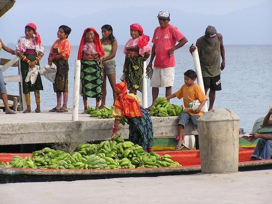 Kuna loading plantains.