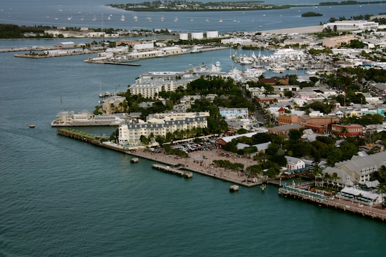 Mallory Square right in the center, the Historic Seaport beyond and beyond that the Garrison Bight Mooring Field.  Key West!