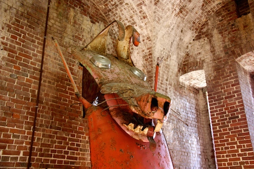 There were some imaginative junk sculptures in the East Martello Tower mid-level.