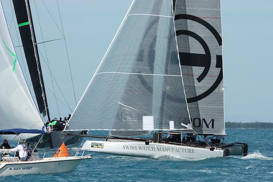 GC 32, Armin Strom from Switzerland crosses finish line just ahead of Tonnare a IRC class 51 footer from Zeeland, Netherlands.