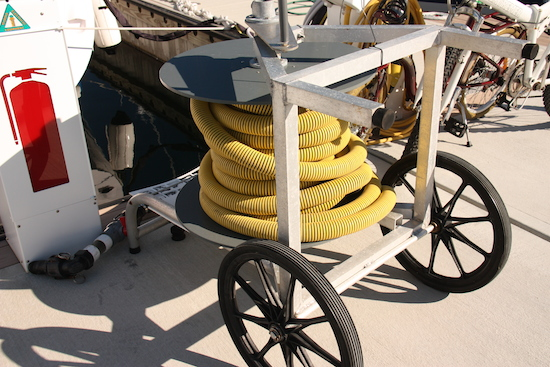 Dock pumpout carts sit idle and marina staff and the plumbing company go crazy trying to figure out the puzzle.