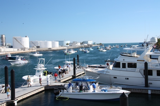 The Stock Island Channel as boats wait their turn to submit their fish.