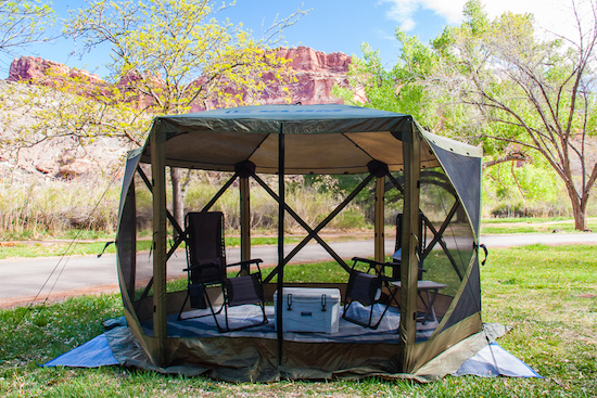 Set up in Capitol Reef National Park, Fruita Campground.