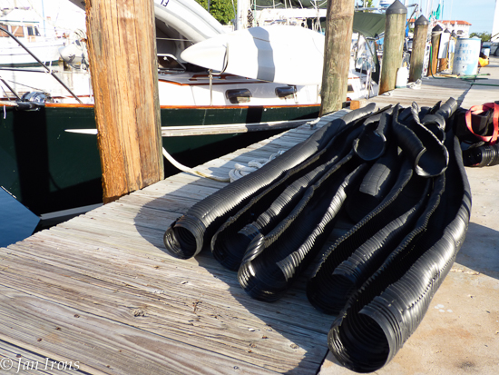 What to do with all the black drain hose until next spring when we store the boat for several months....