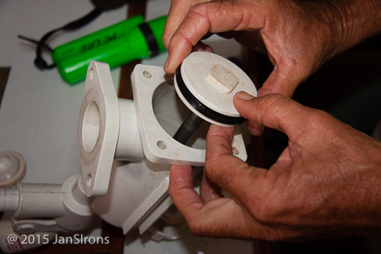 O Ring being put back inside the pump casing ... after lubrication with PTFE Magic Lube - or SuperLube -grease.