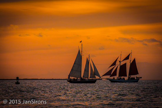 Sunset from Mallory Square features the tall ships and square rigger sunset sails.