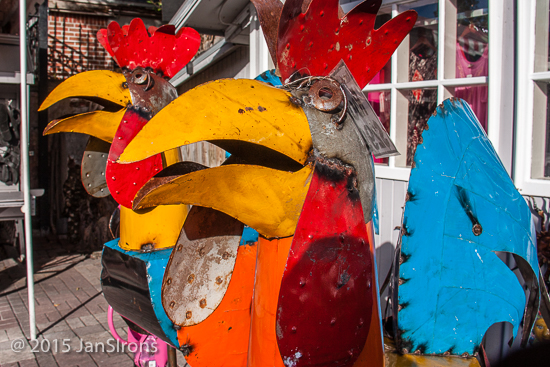 Roosters seem sacred here, hence colorful rooster sculpures for sale - you can take one of these guys home to your yard for $299. :)
