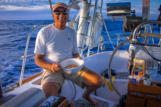 What? Doesn't everyone eat dinner at sea in a flat bottomed white plastic serving bowl?