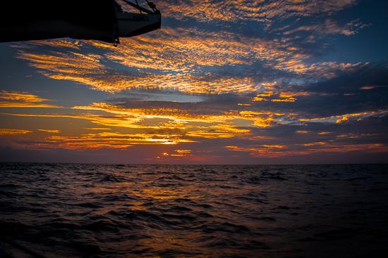 Sunset sailing to Cuba