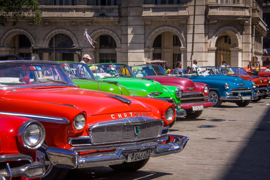 Restored Old Car Tourist Lineup at Capitolito downtown Havana.