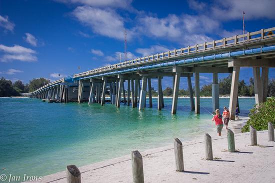 Longboat Pass Bridge from Coquina Beach Park, Anna Maria Island looking toward Longboat Key.