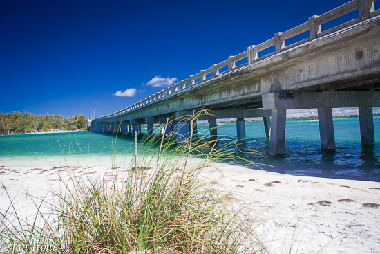 Longboat Pass Bridge between the north end of Longboat Key and the south end of Anna Maria Island.
