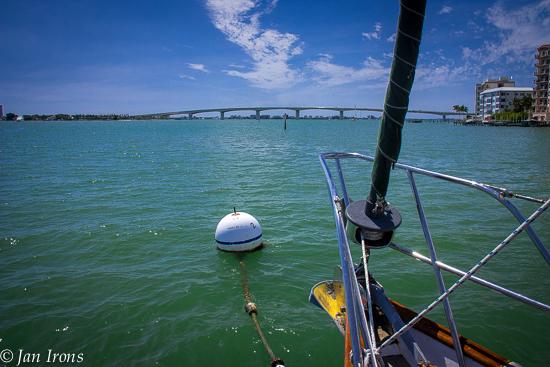 Marina Jack's Mooring 2T - looking forward to the next day & the last bridge, Ringling Bros 65' fixed bridge.