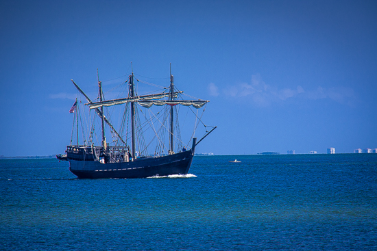 The Nina ... or the Pinta, can't remember, sailing past the DeSoto National Memorial.