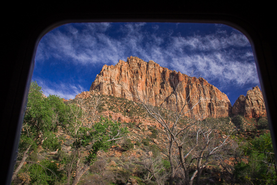 The view out my door in Zion National Park ... maybe not quite as good as the view from my cockpit most nights, but not bad!